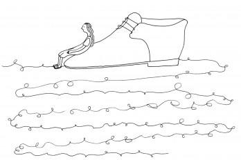 Estela, a escova, os sons e os sapatos