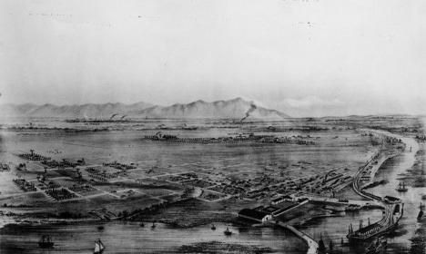 Desenho do rio Los Angeles em meados de 1900Imagem divulgação