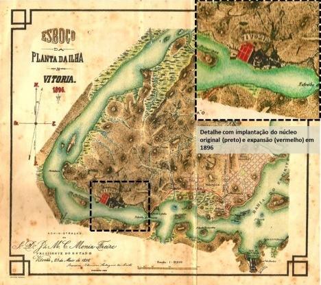 Mapa do município de Vitoria com o maciço central e a atual delimitação do Centro, que abriga o núcleo original de fundaçãoElaboração Viviane Lima Pimentel sobre mapa da Prefeitura Municipal de Vitoria