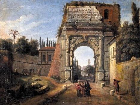 Vista do Arco de Tito, c.1710, de Gaspar van WittelImagem divulgação  [Wikimedia Commons]