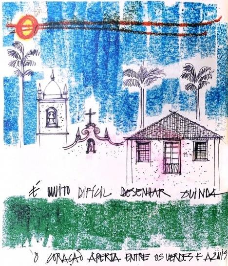 Olinda, ilustração de Eliane Lordello para o livro Viagens, livro de poesias de Sonia Marques