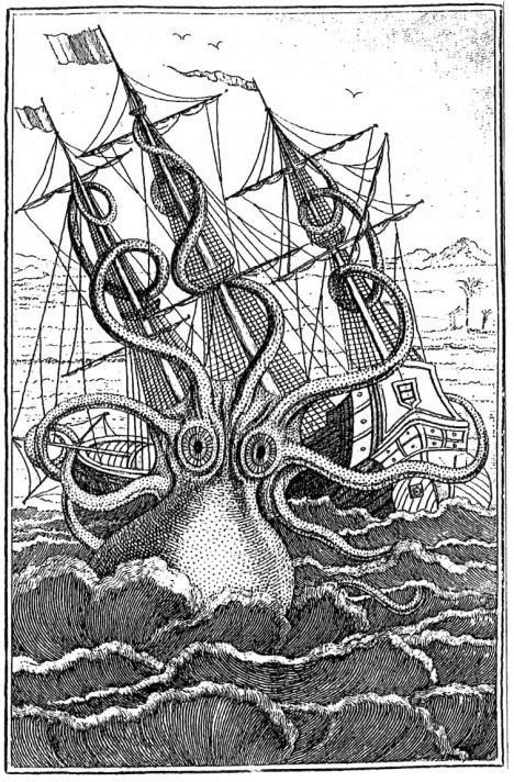 O polvo gigante, gravura do século 18 publicada em La mer – les symboles, Paris, Philippe Lebaud, 1997