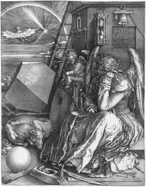 Melancolia I, 1514, gravura de Albrecht DürerImagem divulgação  [Wikimedia Commons]