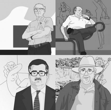João Filgueiras Lima (Lelé), Oscar Niemeyer, Aldary Henriques Toledo e Luiz Carlos Toledo, retratos para a seção Rabiscos do portal VitruviusDesenhos André Marques