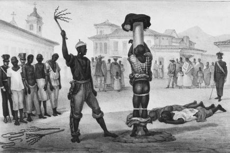 """Jean-Baptiste Debret, """"Execução da punição de açoitamento""""Imagem divulgação  [Voyage Pittoresque et historique au Bresil]"""