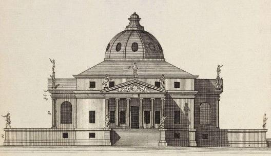 Palladio, Villa Rotonda, 1565-1569. Dibujo que ilustra la edición de Ortiz y Sanz, libro II, 1797<br />Divulgación  [Arquitectura. Ritos y ritmos, Joaquín Arnau Amo]
