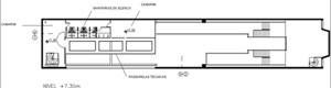 Teatro Oficina, planta nível 7.30m do projeto de Lina e Elito [Escritório Arquiteto Edson Elito]