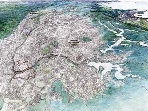 Operação Urbana Vila Leopoldina – Jaguaré. Plano-Referência de Intervenção e Ordenação Urbanística. Posição e inserção metropolitana<br />Desenho Valandro Keating  [SEMPLA/PMSP]