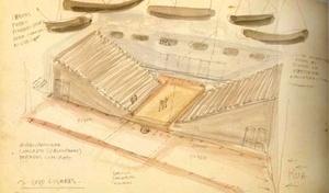 Teatro SESC da Pompéia. Croquis de Lina Bo Bardi - estudo [FERRAZ, Marcelo Carvalho (coord). Lina Bo Bardi. São Paulo, Instituto Lina Bo e P. M. Bard]