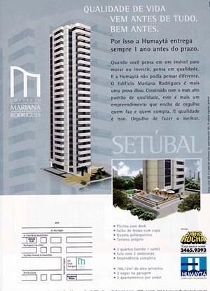 Figura 11 – Peça promocional de edifícios no bairro Setúbal. Edifício Mariana Rodrigues, publicidade. Humaytá Construções e Incorporações [ADEMI Imóveis, edição 16, agosto, 2004, ADEMI-PE]