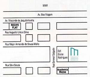 Figura 12 – Peça promocional de edifícios no bairro Setúbal. Edifício Mariana Rodrigues, detalhe da publicidade, com a localização do empreendimento. Humaytá Construções e Incorporações [ADEMI Imóveis, edição 16, agosto, 2004, ADEMI-PE]