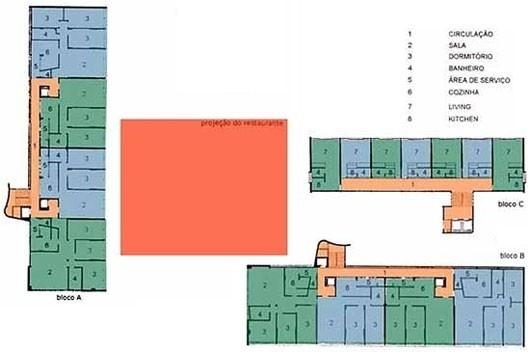 Planta tipo esquemática dos 3 blocos residenciais [Arquivo pessoal de Ricardo Médici]