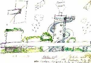 """Desenho para o Centro Cultural de Belém [Reprodução de imagens do livro """"Lina Bo Bardi"""" autorizada pelo Instituto Lina Bo e P. M. B]"""
