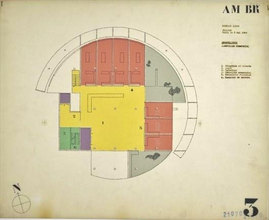 Embaixada da França, Chancelaria, planta segundo andar, Brasília, 1962-1964, arquiteto Le Corbusier<br />Imagem divulgação  [Fondation Le Corbusier]