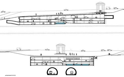 Figura 7 – Garagem subterrânea Trianon, cortes longitudinal e transversal