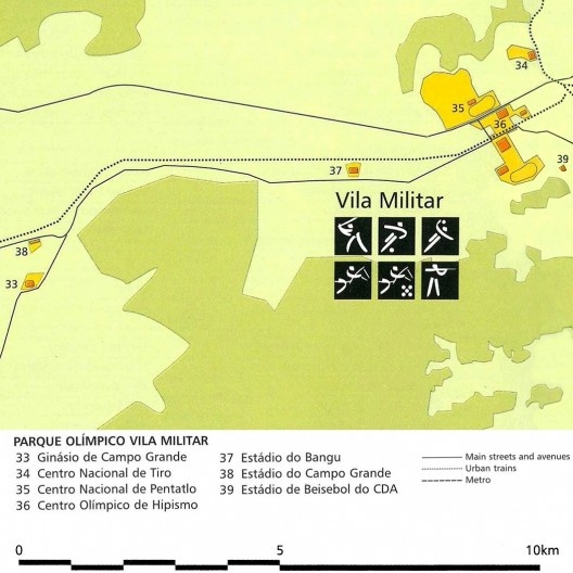 Parque Olímpico Vila Militar, detalhe, mapa geral das instalações olímpicas na candidatura Rio 2004<br />Imagem divulgação  [Rio 2004, Rio de Janeiro candidate to host the XXVIII Olympic Games in 2004, v.2, 1996]
