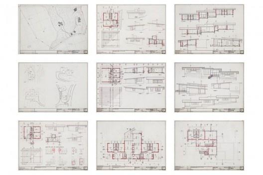 Exposição Território de Contato, Marcos Acayaba, painel com desenho executivo de residências (parte 1)<br />Painel de Estudio Campo