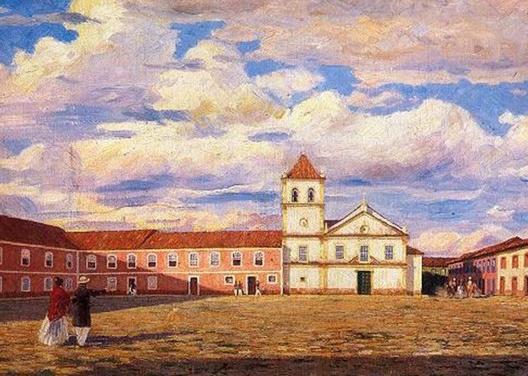 Pátio do Colégio em 1818. Tela de Wasth Rodrigues a partir de desenho de Thomas Ender<br />Imagem divulgação
