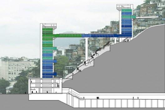 Mirante da Paz – Complexo Elevador Rubem Braga, corte esquemático, Rio de Janeiro. Arquiteto João Batista Martinez Corrêa<br />Imagem divulgação