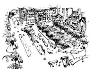 Praça Clóvis Bevilacqua implantada como terminal central de ônibus urbanos. Desenho mostra ao fundo o Palácio da Justiça, por volta de 1960
