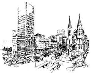 Conjunto do espaço da Praça da Sé, vizinha da Praça Clóvis Bevilacqua. Em primeiro plano o edifício Mendes Caldeira e a seu lado o Palacete Santa Helena, por volta de 1971