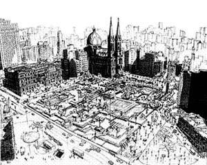 Perspectiva geral da nova Praça da Sé (inaugurada em 1978), desenho baseado em foto tomada por volta de 1980