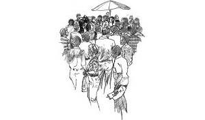 """Grupo de """"cantadores do Nordeste"""" com seus trajes típicos"""