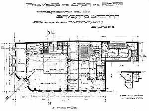Planta, Piso térreo – Salão das Senhoras, projeto do arquiteto Gianotti, ano 1914