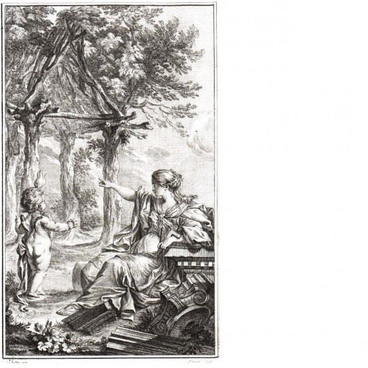 """Alegoria da Arquitetura, capa do """"Essai sur l'architecture"""", de Marc-Antoine Laugier, Paris, 1753<br />Imagem divulgação"""