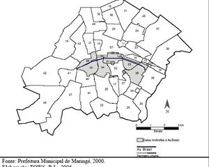Localização da Avenida Brasil em Maringá-PR no contexto das Zonas limítrofes