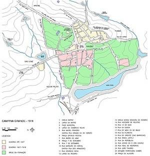 Mapa de Campina Grande, 1918. Desenhado a partir de mapa exposto no Museu Histórico de Campina Grande [Elaborado pela Secretaria Municipal de Educação e Cultura]