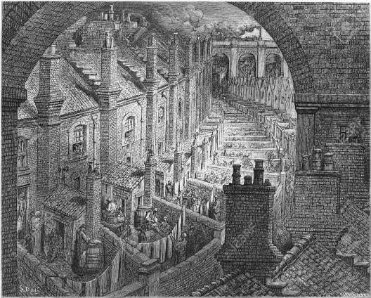 Vista de Londres com ferrovia, 1872, gravura de Gustave Doré<br />Imagem divulgação