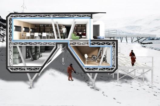 Estação Antártica Comandante Ferraz, 2º lugar no concurso. Escritório Triptyque