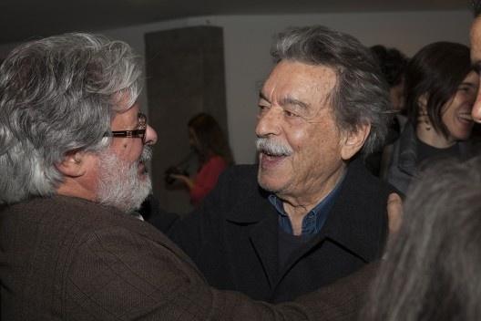 """Eduardo Colonelli e Paulo Mendes da Rocha, festa de lançamento do livro """"Abrahão Sanovicz, arquiteto"""", IAB/SP, 22 ago. 2017<br />Foto Fabia Mercadante"""