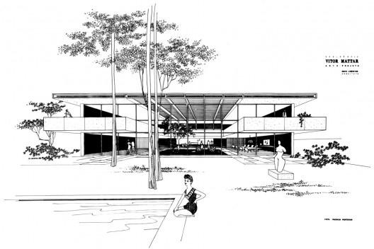 Residência Vitor Mattar, São Paulo, 1961. Arquiteto David Libeskind<br />Desenho do arquiteto  [BRASIL, Luciana. David Libeskind, Romano Guerra/Edusp]