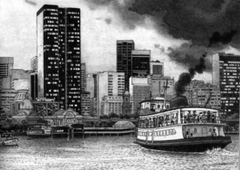 A chegada das barcas na Praça Quinze do Centro do Rio, desenho de Jano