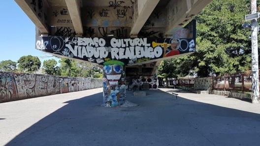 O Espaço Cultural Viaduto de Realengo como área de passagem durante o dia em 2018<br />Foto dos autores