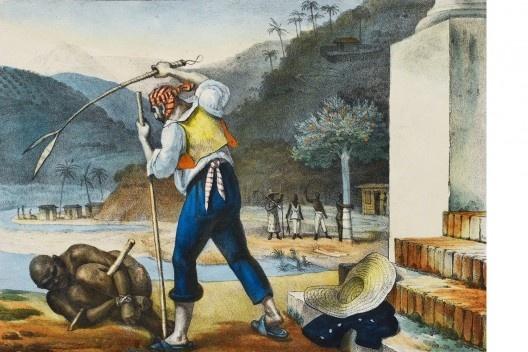 """Jean-Baptiste Debret, """"Capataz punindo escravos em uma propriedade rural""""<br />Imagem divulgação  [Voyage Pittoresque et historique au Bresil]"""