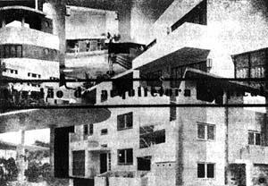 Figura 20 - Convite do 1° Salão de Arquitetura Tropical (frente), Rio de Janeiro, 1933. Design gráfico: Alexander Altberg [FERRAZ, Geraldo. Op. cit]