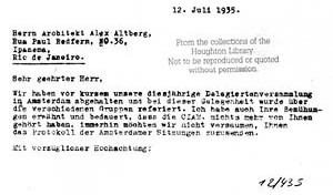 Figura 22 - Carta de Walter Gropius a Alexander Altberg, 12 de Julho de 1935 [Gropius Archives, Houghton Library of the Harvard College Library]