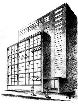 Figura 30 – Projeto para o Edifício-Sede do Montepio dos Empregados Municipais do Distrito Federal. Rio de Janeiro, 1935. Arquiteto Alexander Altberg [Coleção Alexandre Altberg]
