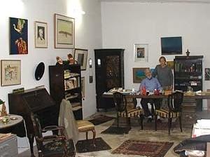 Alexandre Altberg e sua companheira Odete no ateliê em Marília, jun. 2004 [Arquivo Pedro Moreira, Berlim]