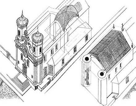 Desenho em 3D da Igreja do Carmo, feito por este arquiteto para o primeiro projeto de restauração, em 1992