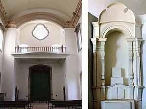 À esquerda, vista do coro com o piso refeito em estrutura metálica forrada em madeira, sem o paravento original (ver foto n. ) no nível inferior. á direita, maquete dos altares laterais propostos pelo arquiteto R. Meniconi