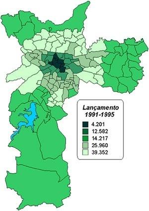 Número de Lançamentos Imobiliários por anéis no Município de São Paulo [Embraesp]