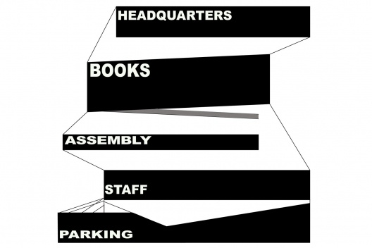 Biblioteca Pública, diagrama das plataformas, Seattle. Rem Koolhaas / OMA, 2004<br />Desenho OMA  [Image courtesy of the Office for Metropolitan Architecture (OMA)]