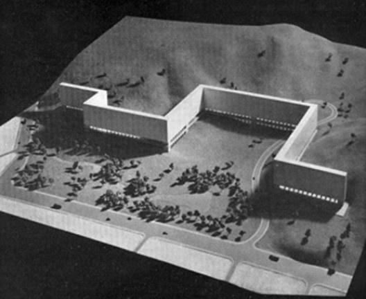 Conjunto Residencial Vila Isabel, maquete, Rio de Janeiro, 1955 [Bauen+Wohnen, Zurich, 1962, p. 112-115]