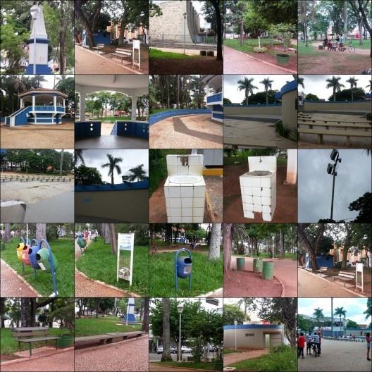 Praça Rui Barbosa, mosaico de fotos, Leme SP<br />Foto Amanda Carolina Moreira de Andrade