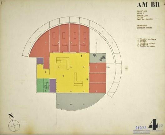 Embaixada da França, Chancelaria, planta terceiro andar, Brasília, 1962-1964, arquiteto Le Corbusier<br />Imagem divulgação  [Fondation Le Corbusier]