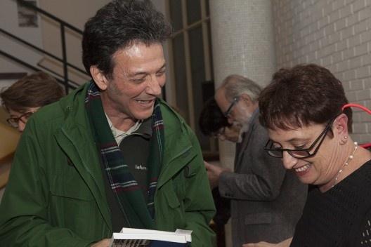 """Valerio Pietraroia e Helena Ayoub, festa de lançamento do livro """"Abrahão Sanovicz, arquiteto"""", IAB/SP, 22 ago. 2017<br />Foto Fabia Mercadante"""